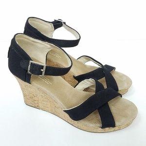 Toms Black Tan Cork Open Toe Platform Wedge Sandal